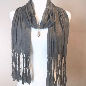 Accessories - Gray Knotted Fringe Scarf with Charm Decoration